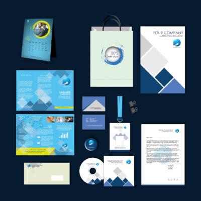 Blue Cool Print Design Template Pack