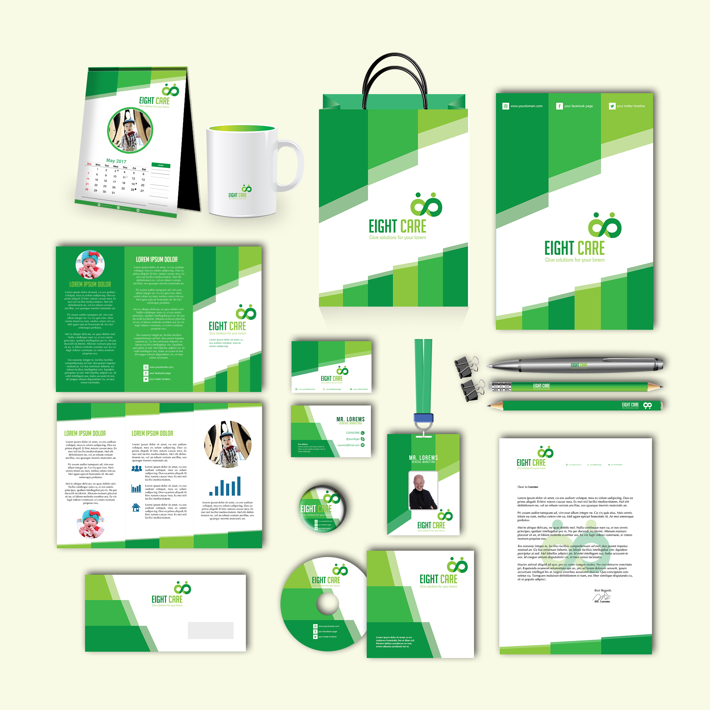 Eight Care Print Design Template Pack