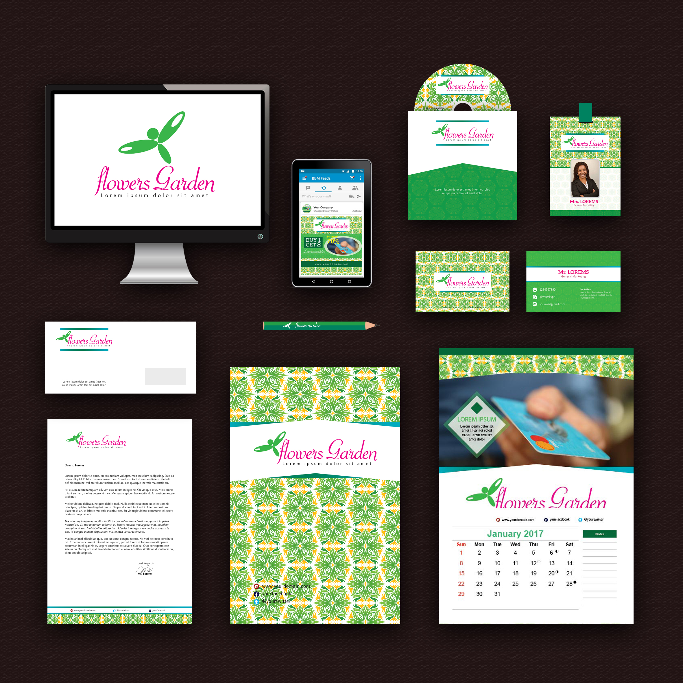 Flower Garden Print Design Template Pack