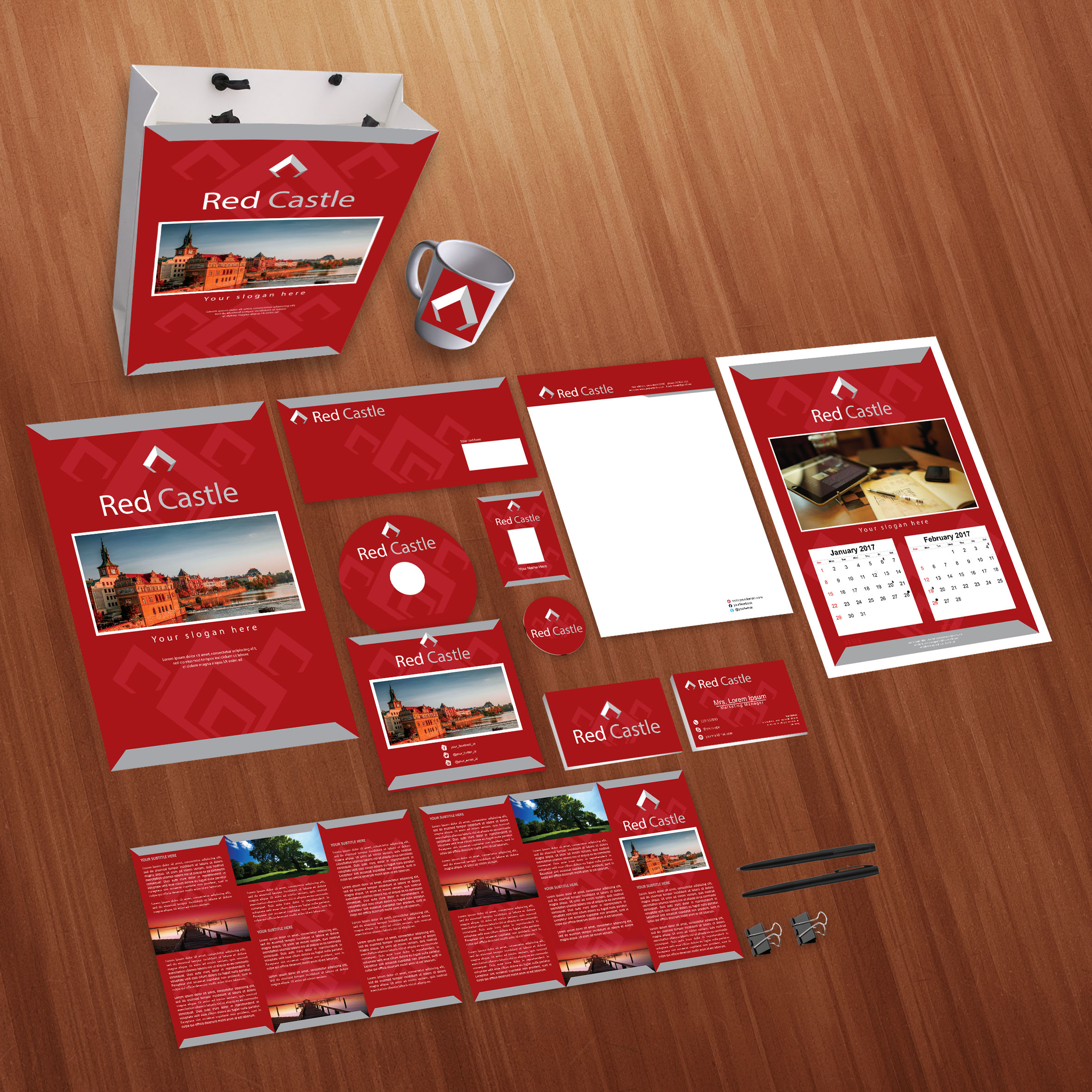 Red Castle Print Design Template Pack