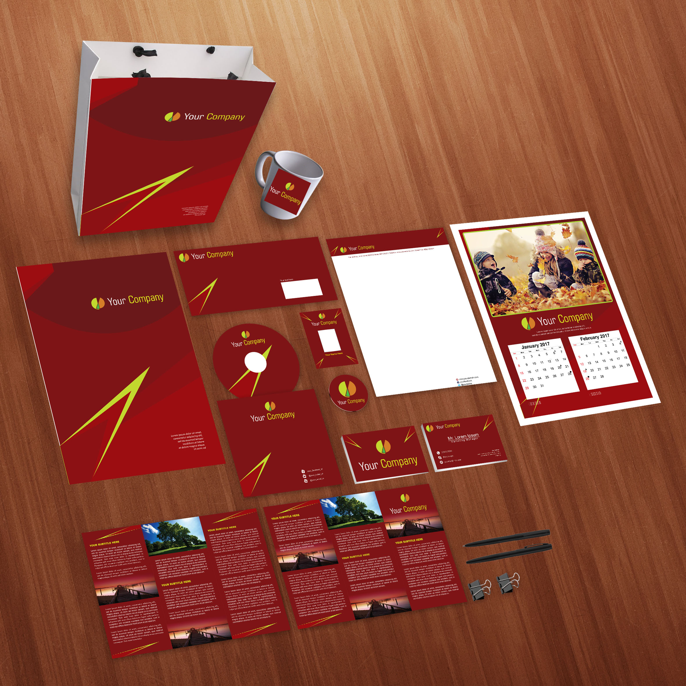 Red Company Print Design Template Pack