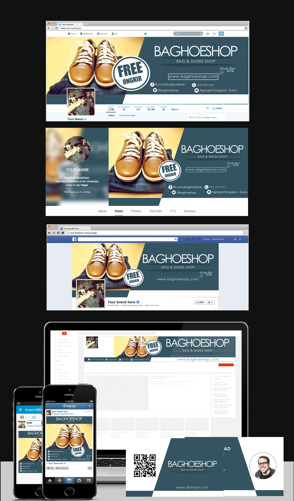 Bag & Shoes Shop Social Media Templates.
