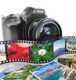 Photography. Slr camera, film and photos. 3d
